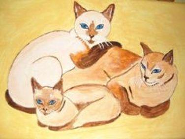 Three Siamese Cats, cats in art