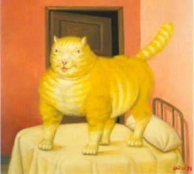 F. Botero cat on a bed, cats in paintings, cat art, cats