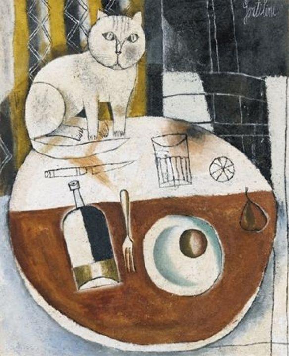 Franco Gentilini, 1954, Tavalo Tondo con Gatto, oil on canvas sandblasted.