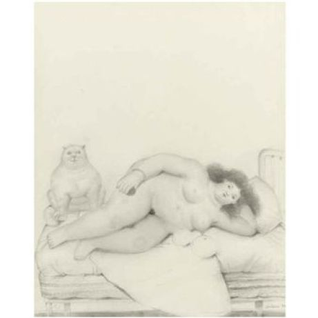 WOMAN WITH CAT By Fernando Botero ,1980