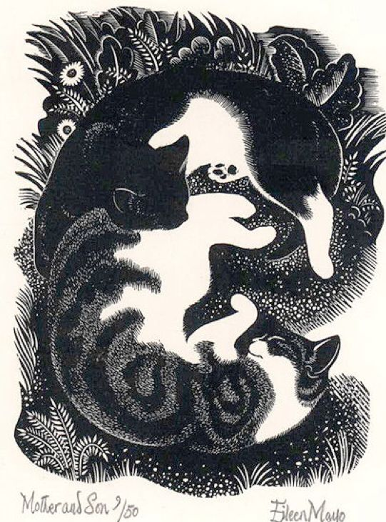 Mother and Son 1948, Eileen Mayo, cats in illustrations, cats in art