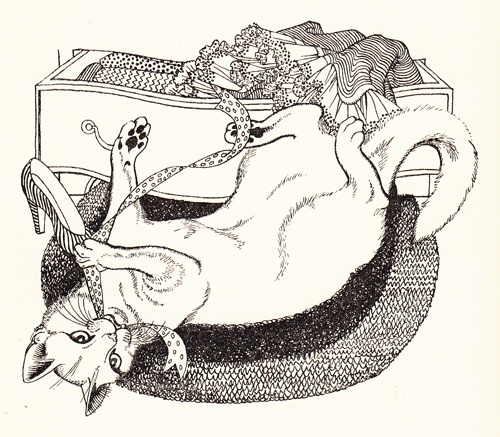 From 'Calvin, the Cat' by Charles Dudley Warner  Illustration by Eileen Rosemary Mayo cats in art
