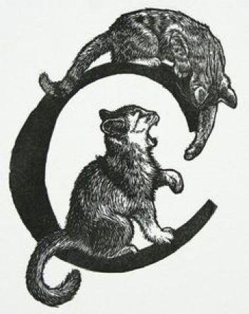C for Cat Linocut, Miller Parker, cats in illustrations