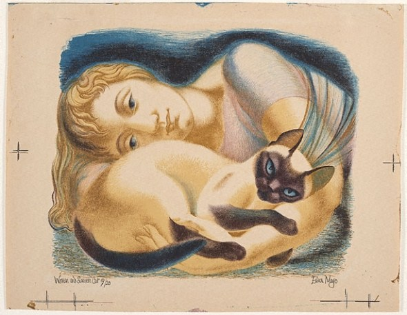Eileen Mayo Woman and Siamese Cat 1952