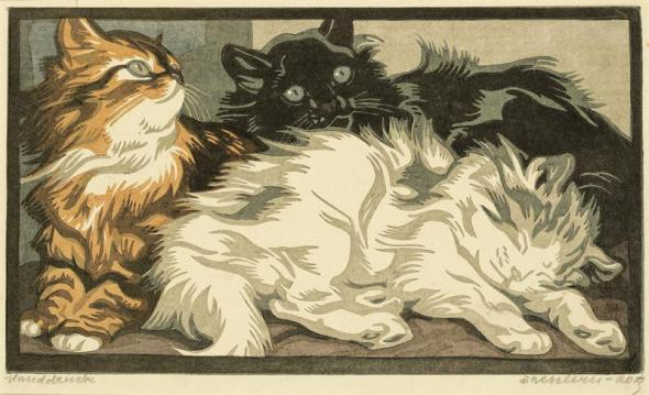 N. Bresslern-Roth, young cats 1944, cats in art