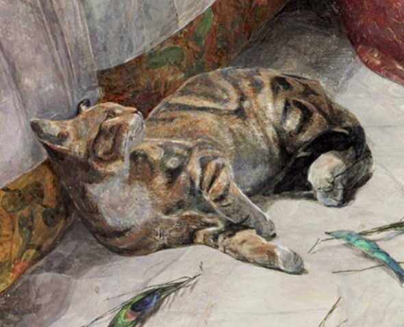 Detail from Harem Life in Constantinople J Frederick Lewis, cat in art