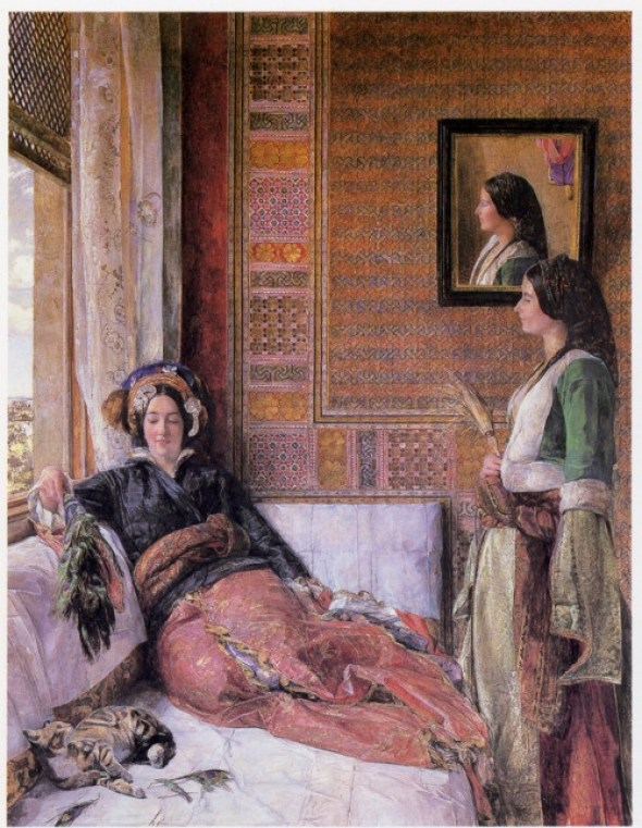 Harem Life in Constantinpole, John Frederick Lewis, cats in art, art cats