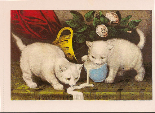 Currier and Ives kitties and cream