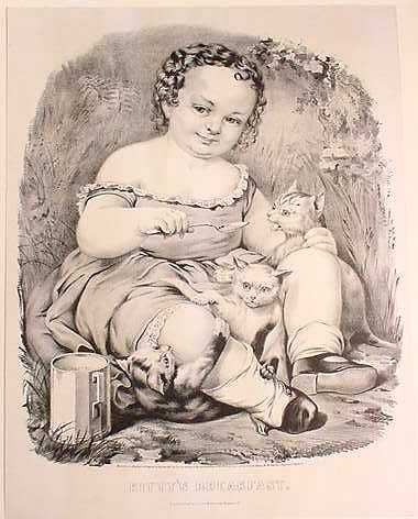 Currier and Ives, kitty's breakfast, girl and cat
