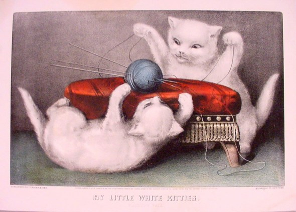 Currier and Ives, My little white Kitties, cats