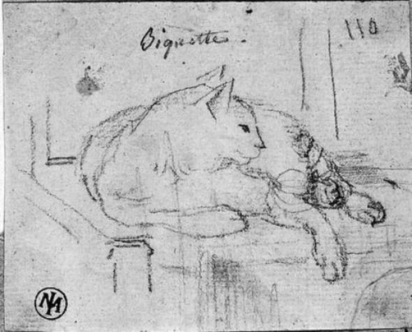 Biquette 1820 cat art