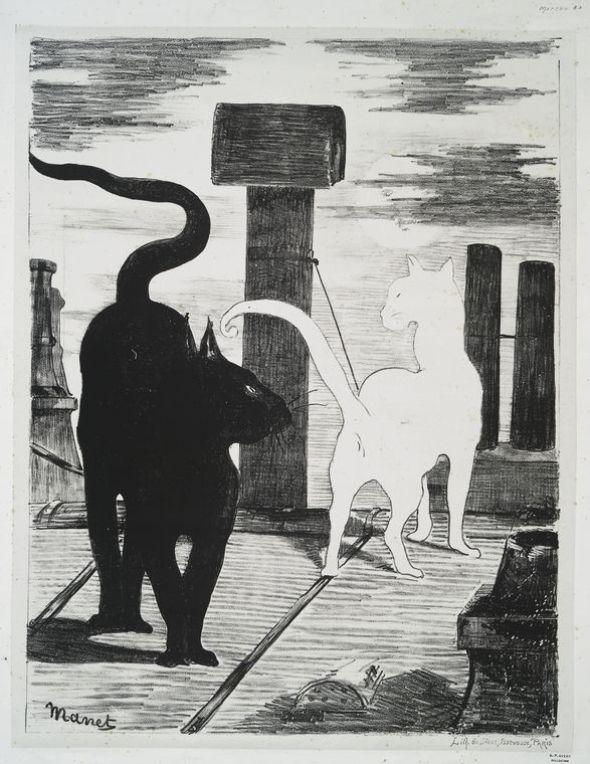 Le Rendez-vous des chats Lithograph 1868 NYPL Manet