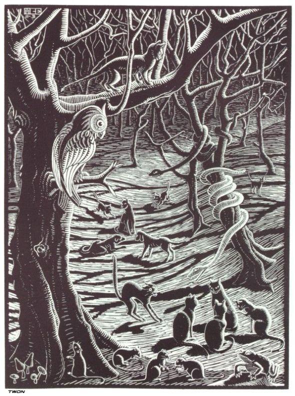 Scholastica (Full Moon) 1931, MC Escher