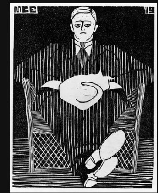 Seated Man with Cat on His Lap woodcut, 1919 M.C. Escher