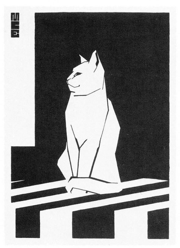 MC Escher Sketchbook Cat Woodblock Print 1919