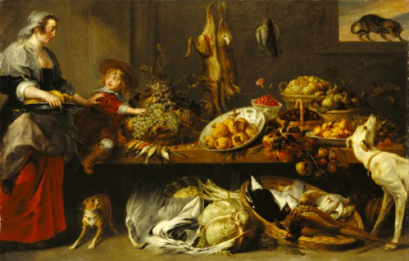 F Snyders Still Life with Kitchen Maid and Boy