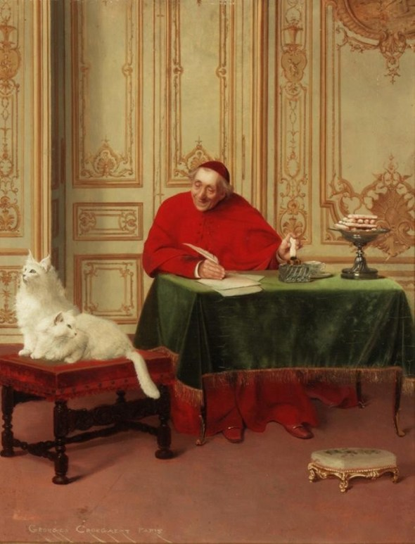 G Croegaert The Cardinal's White Persians