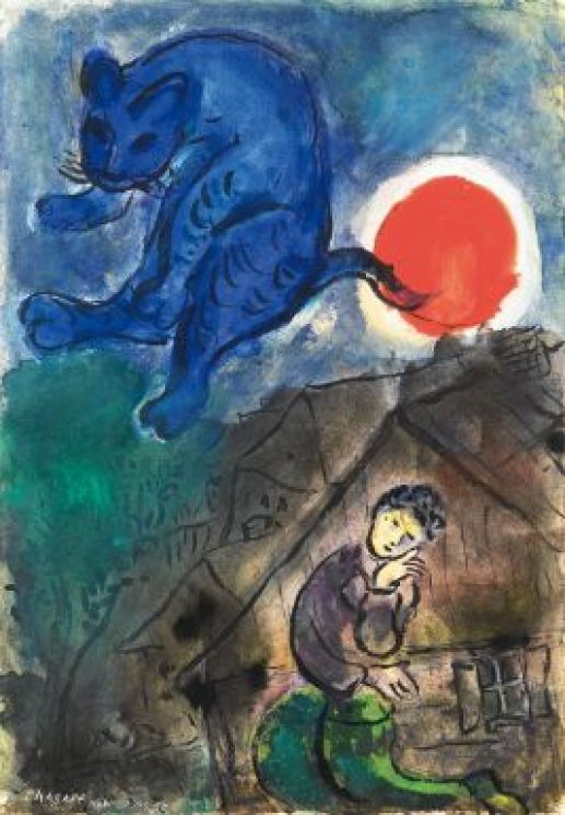 Le Poète1949-50 - Gouache, india ink and pencil on paper Chagall
