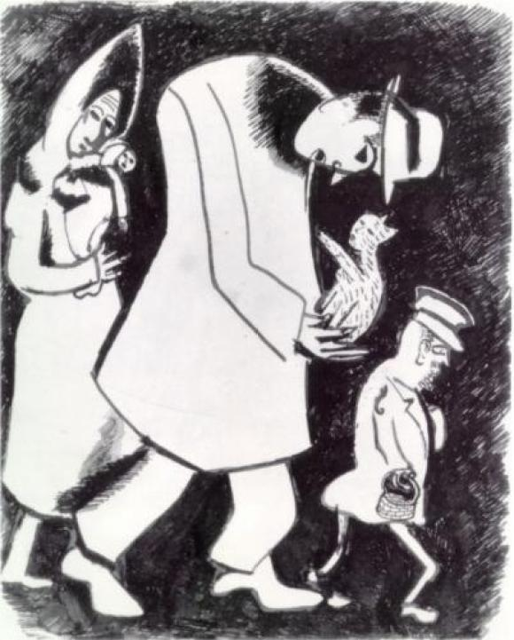 Chagall (1887-1985) Man with a Cat and Woman with a Child 1914