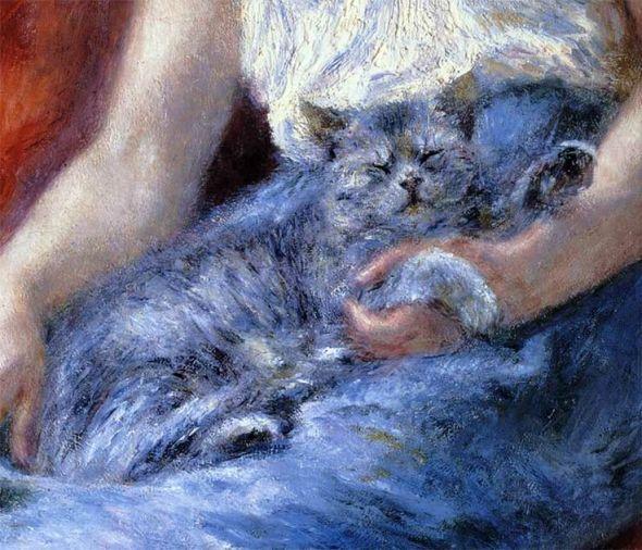 Renoir (1841-1919) - Sleeping Girl with a Cat (detail), 1880