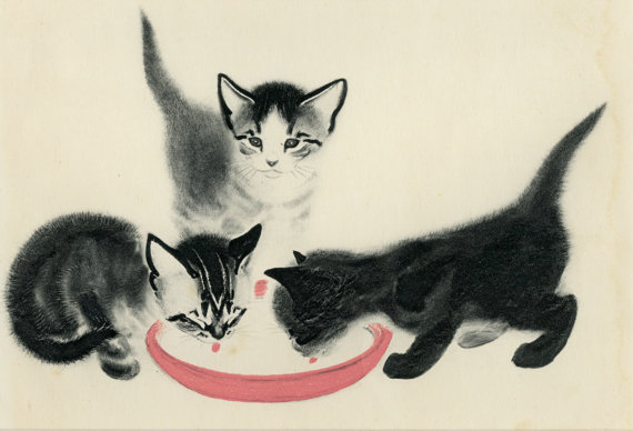 C. Turlay Newberry, kittens drinking milk