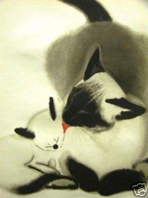 Siamese cat and kitten, Clare Turlay Newberry