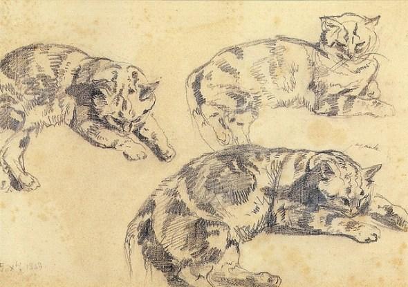 Three Studies of Reclining Cats Trois études de chats allongés -1843, Musée national Eugène Delacroix