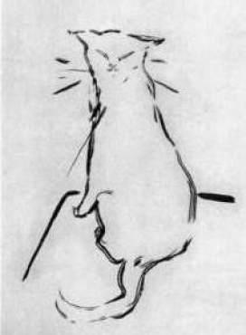 Sketch for Histoires Naturelles Brush and Ink 1903, P. Bonnard, cat art, cats