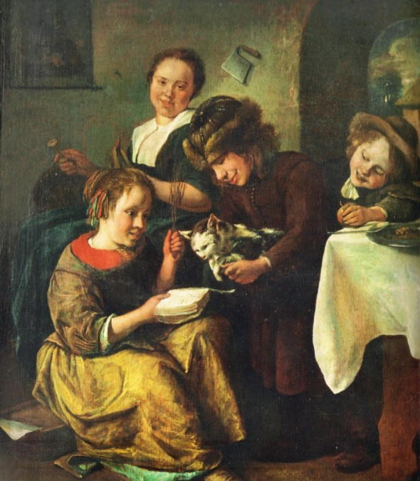 Children Teaching the Cat to Read 1663, Jan Steen