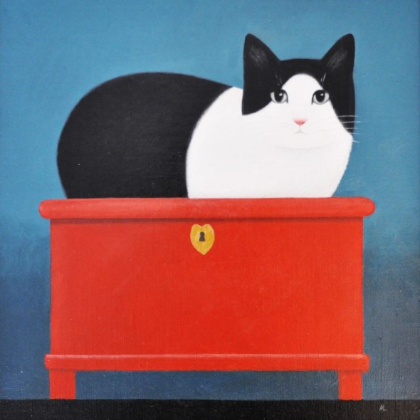 Martin Leman Cat on a red box
