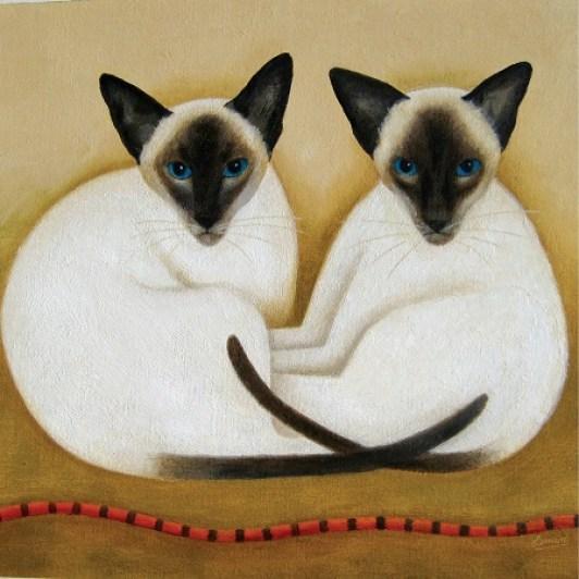 Martin-Leman-Jasmine-and-Cocoa, Siamese cat paintings, Siamese cat art, cat art