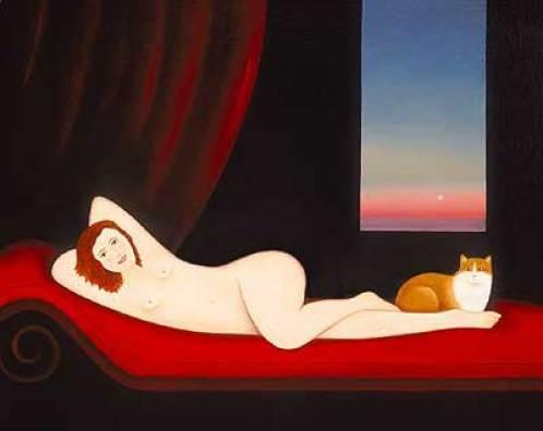 Nude Dawn and Cat, Martin Leman, cat art, cat paintings