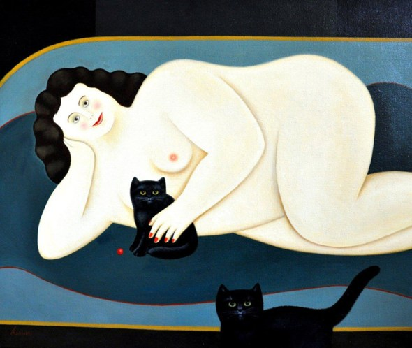 Nude with 2 black kittens, Martin Leman