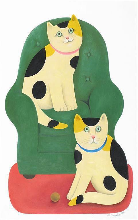 Queenie and Rex, M. Leman, cat art, cat paintings