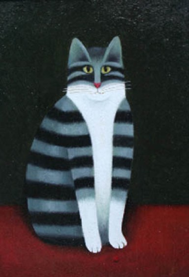 Stripey cat, M. Leman, cat art, cat paintings