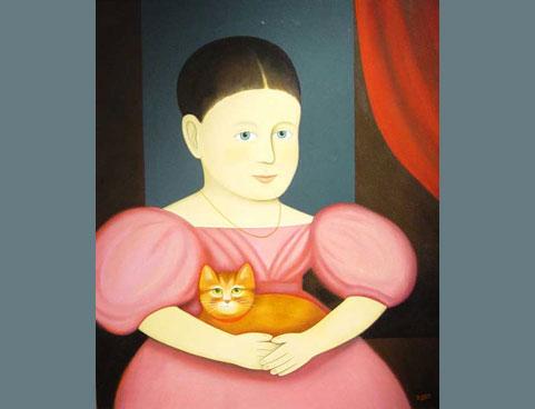 Pink Girl with Cat, M. Leman, cat paintings, cat art