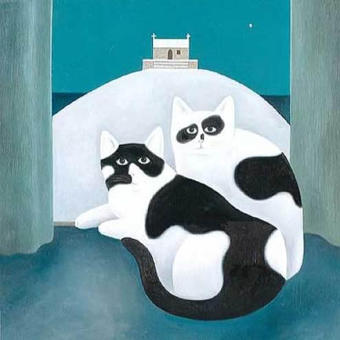 Starry Night, Martin Leman, cat art, cat paintings