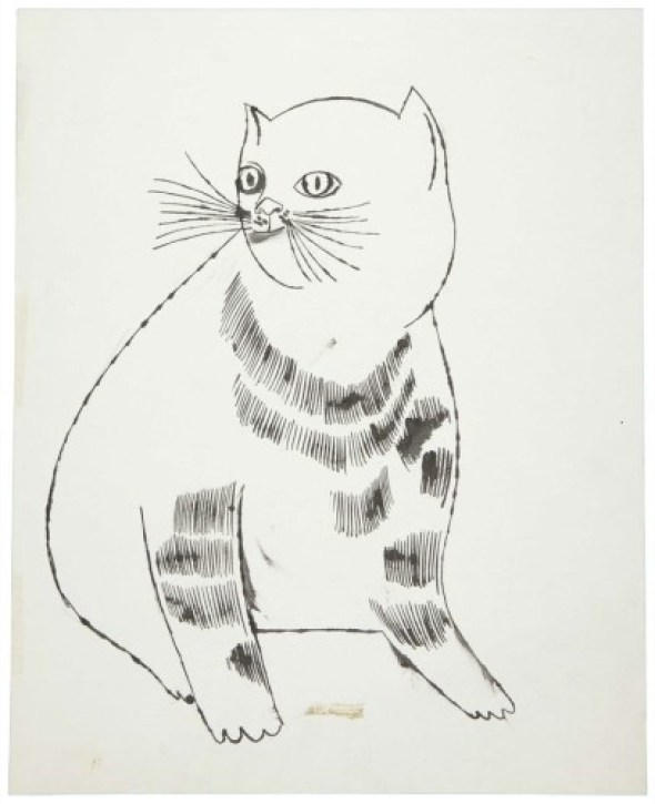 ANDY WARHOL (1928-1987). Reclining Cat, ink and graphite on paper