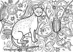Cat, 1407, cat coloring book, adult coloring book, Medieval Cats Coloring Book