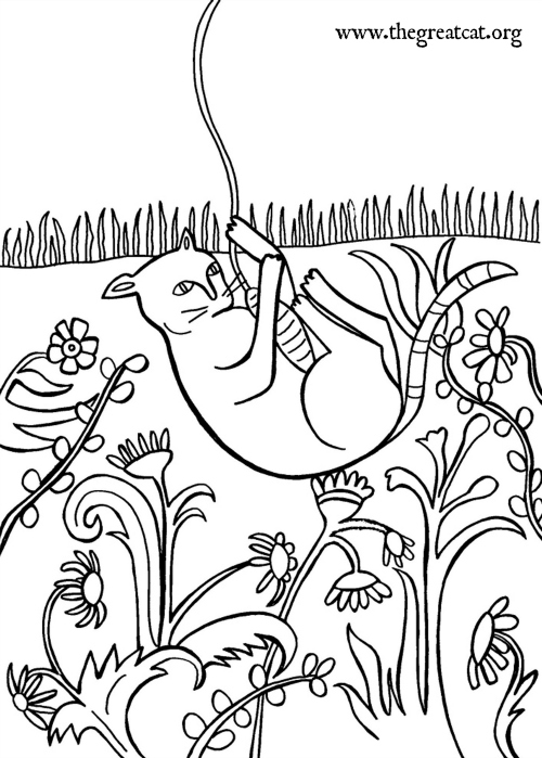 Cat Playing With String 1520 Coloring Book Adult Medieval