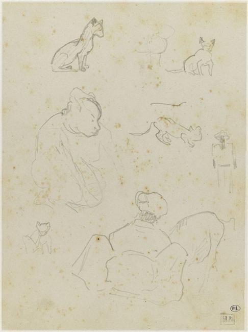 Croquis de trois figures et de chats , Paul Gauguin