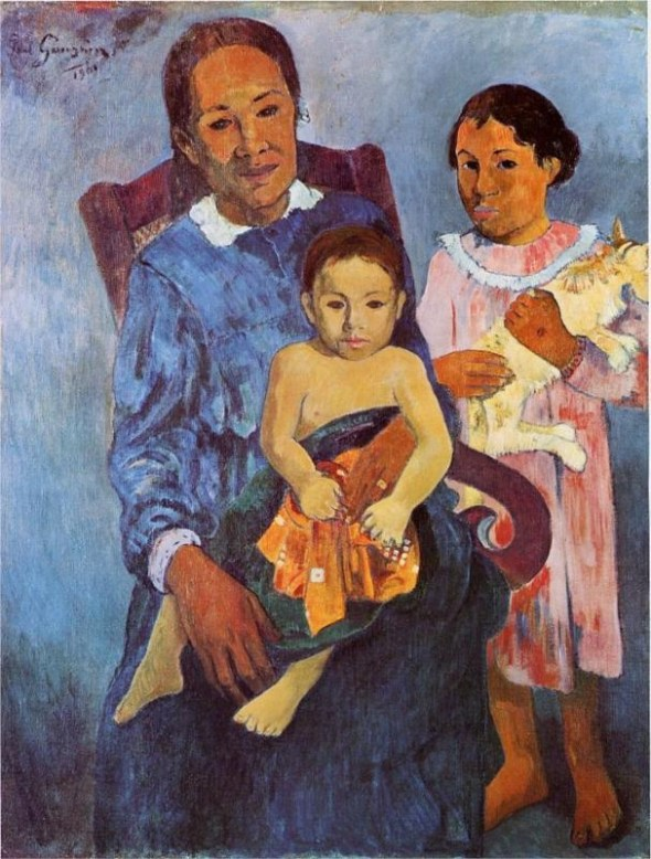 Tahitian woman and two children (and their cat) by Paul Gauguin 1901