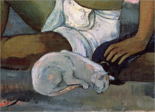 Detail Tahitian Man, Woman and Cat, Paul Gauguin