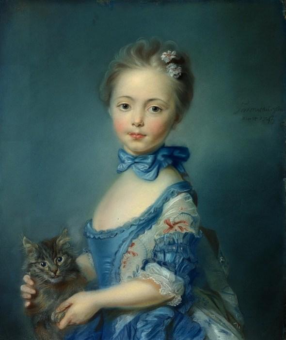 1745-Jean-Baptiste Perronneau Girl with a Kitten