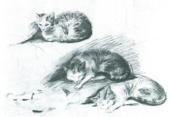 August Macke Drei liegende Katzen