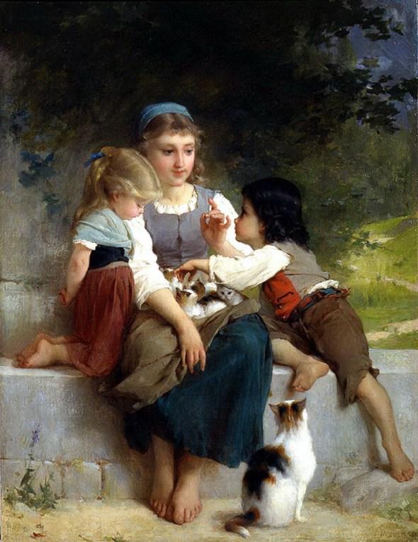7d45e7ba2b0d Three Children with Kittens