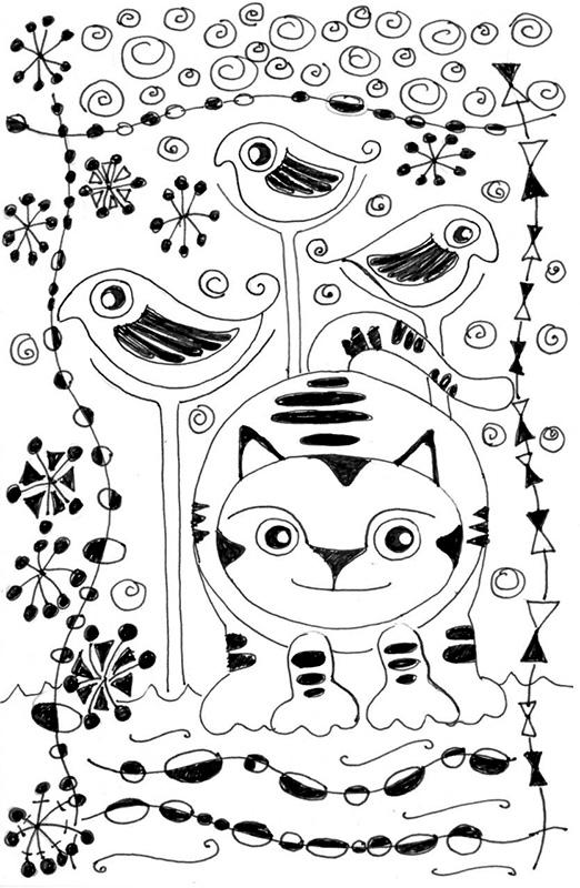 cat Pen Ink Drawing Joan Miro