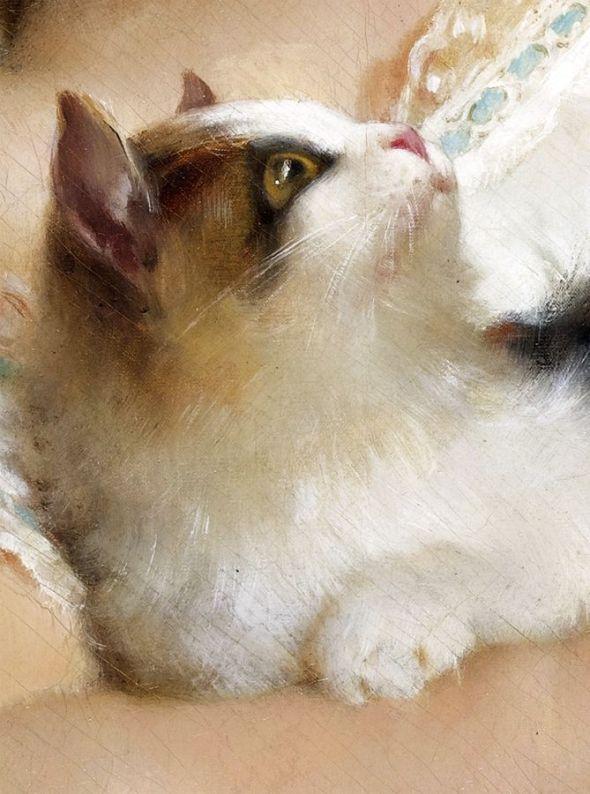 Emile Munier Petite Fille et Chat Little girl and cat Detail, 1882