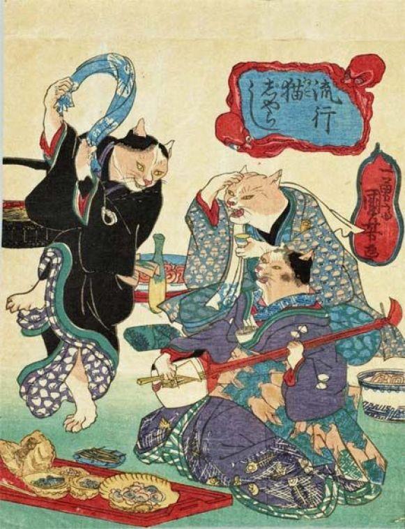 Dancing Cats by Utagawa Kuniyoshi
