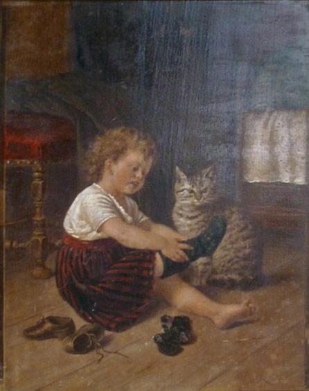 Rudolf Epp, Child Dressing with cat